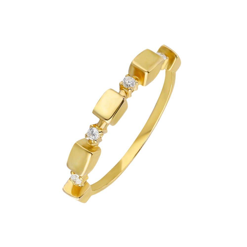 Zirkon Taşlı Sıralı Küp Tasarım Gold Renk 925 Ayar Gümüş Bayan Yüzük