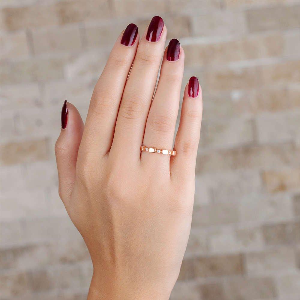 Zirkon Taşlı Sıralı Küp Tasarım Rose Renk 925 Ayar Gümüş Bayan Yüzük