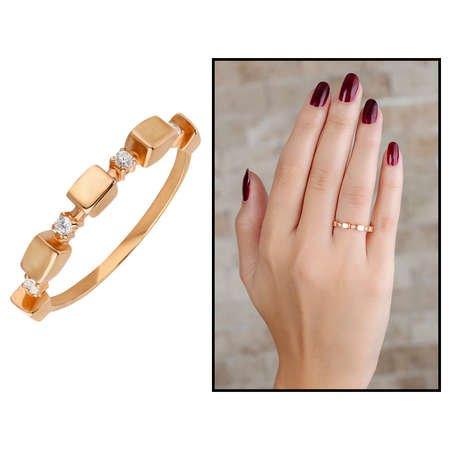 Zirkon Taşlı Sıralı Küp Tasarım Rose Renk 925 Ayar Gümüş Bayan Yüzük - Thumbnail