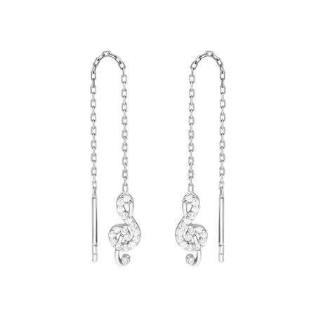 Zirkon Taşlı Sol Anahtarı Tasarım 925 Ayar Gümüş Sallantılı Küpe - Thumbnail