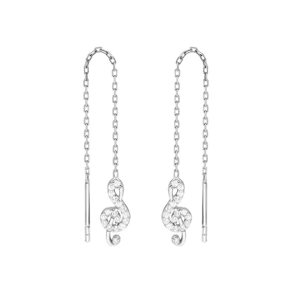 Zirkon Taşlı Sol Anahtarı Tasarım 925 Ayar Gümüş Sallantılı Küpe