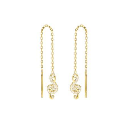 Zirkon Taşlı Sol Anahtarı Tasarım Gold Renk 925 Ayar Gümüş Sallantılı Küpe - Thumbnail