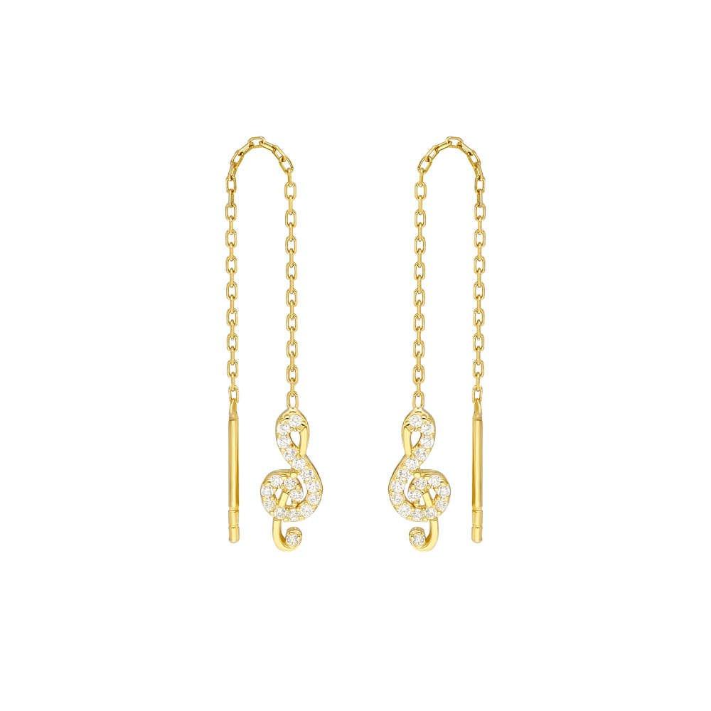 Zirkon Taşlı Sol Anahtarı Tasarım Gold Renk 925 Ayar Gümüş Sallantılı Küpe