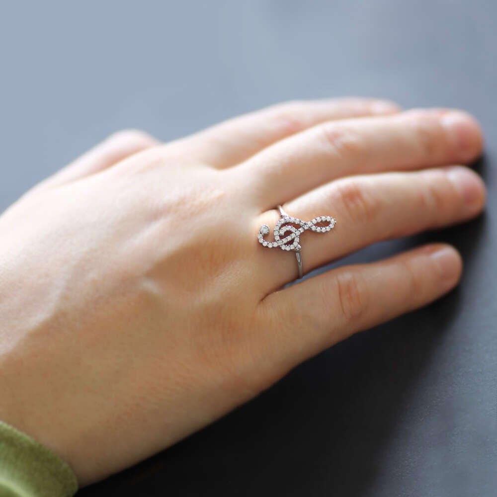 Zirkon Taşlı Sol Anahtarı Tasarım Rose 925 Ayar Gümüş Bayan Yüzük