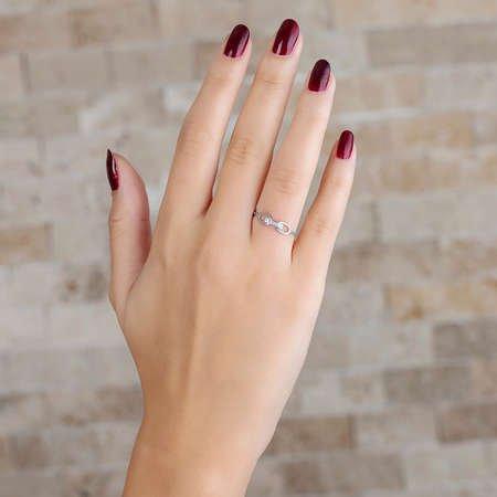 Zirkon Taşlı Sonsuzluk Tasarım 925 Ayar Gümüş Bayan Yüzük - Thumbnail