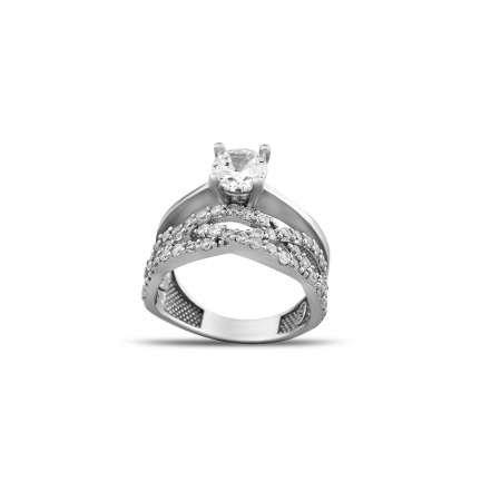 Zirkon Taşlı Sonsuzluk Tasarım 925 Ayar Gümüş Kadın Tektaş Yüzük - Thumbnail