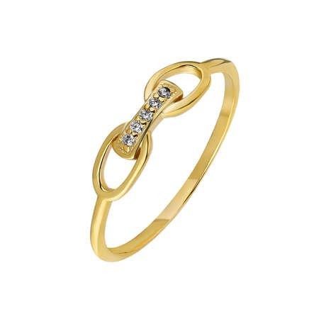 Zirkon Taşlı Sonsuzluk Tasarım Gold Renk 925 Ayar Gümüş Bayan Yüzük - Thumbnail