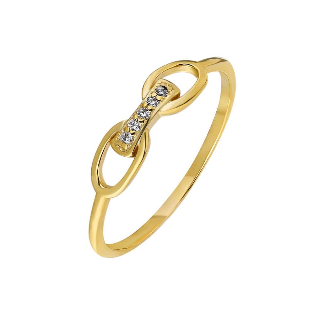 Zirkon Taşlı Sonsuzluk Tasarım Gold Renk 925 Ayar Gümüş Bayan Yüzük