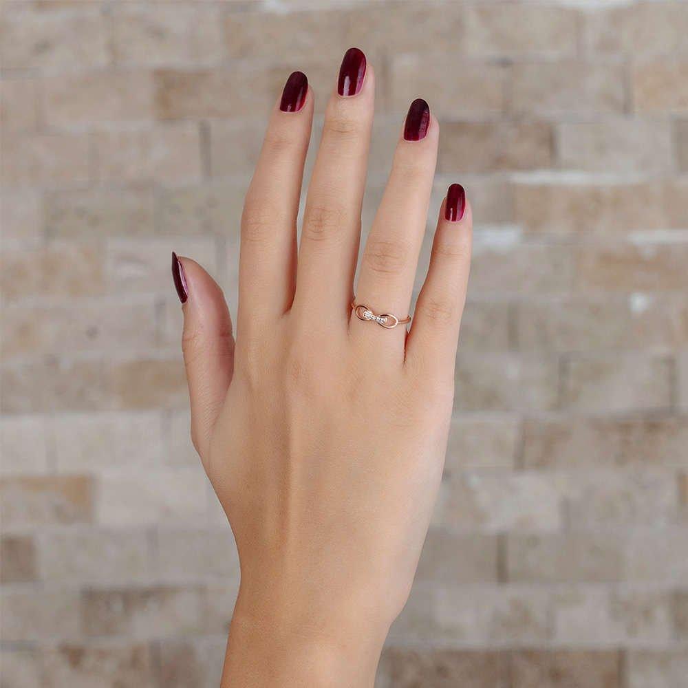 Zirkon Taşlı Sonsuzluk Tasarım Rose Renk 925 Ayar Gümüş Bayan Yüzük