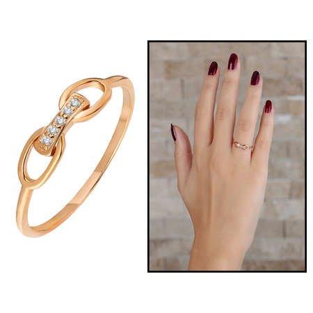 Zirkon Taşlı Sonsuzluk Tasarım Rose Renk 925 Ayar Gümüş Bayan Yüzük - Thumbnail