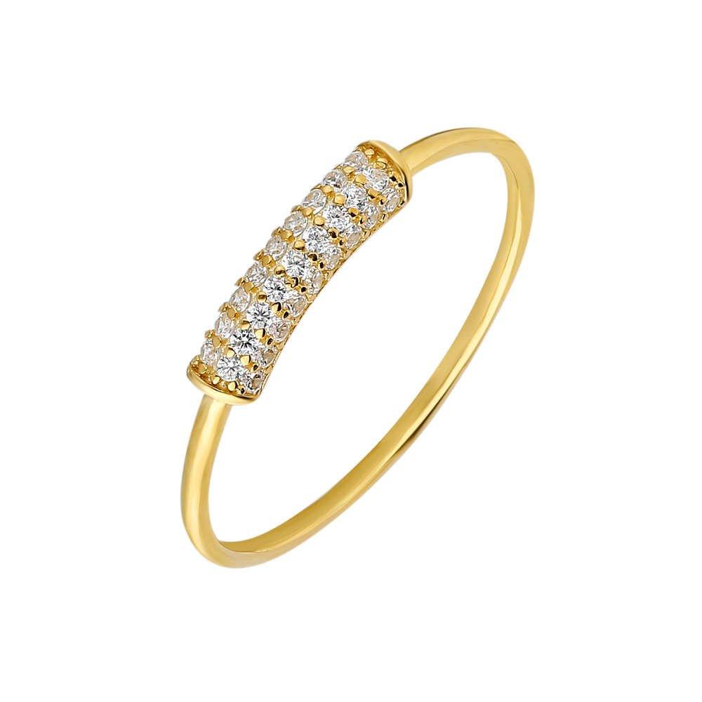 Zirkon Taşlı Tüp Tasarım Gold Renk 925 Ayar Gümüş Bayan Yüzük