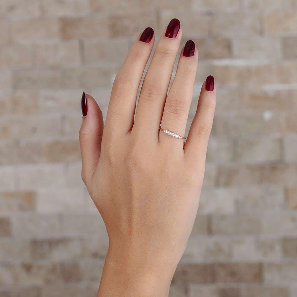 Zirkon Taşlı Tüp Tasarım Rose Renk 925 Ayar Gümüş Bayan Yüzük