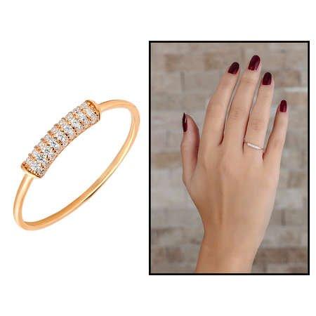 Zirkon Taşlı Tüp Tasarım Rose Renk 925 Ayar Gümüş Bayan Yüzük - Thumbnail