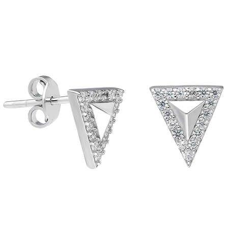 Zirkon Taşlı Üçgen Tasarım 925 Ayar Gümüş Küpe - Thumbnail