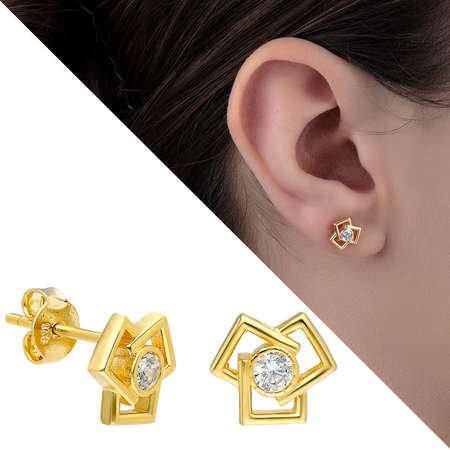Zirkon Taşlı Üçlü Kare Tasarım Gold Renk 925 Ayar Gümüş Küpe - Thumbnail