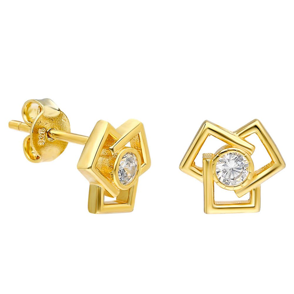 Zirkon Taşlı Üçlü Kare Tasarım Gold Renk 925 Ayar Gümüş Küpe