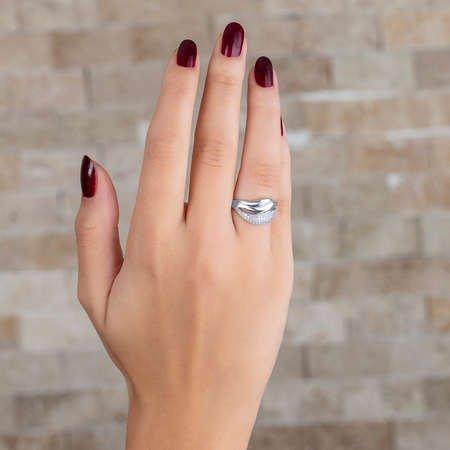 Zirkon Taşlı Wave Tasarım 925 Ayar Gümüş Bayan Yüzük - Thumbnail