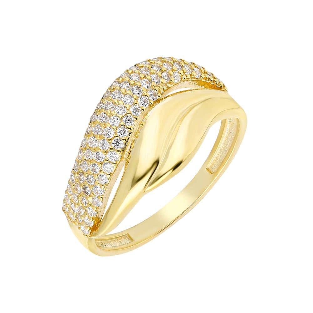 Zirkon Taşlı Wave Tasarım Gold Renk 925 Ayar Gümüş Bayan Yüzük