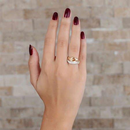 Zirkon Taşlı Wave Tasarım Gold Renk 925 Ayar Gümüş Bayan Yüzük - Thumbnail