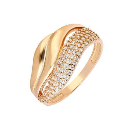 Zirkon Taşlı Wave Tasarım Rose Renk 925 Ayar Gümüş Bayan Yüzük - Thumbnail