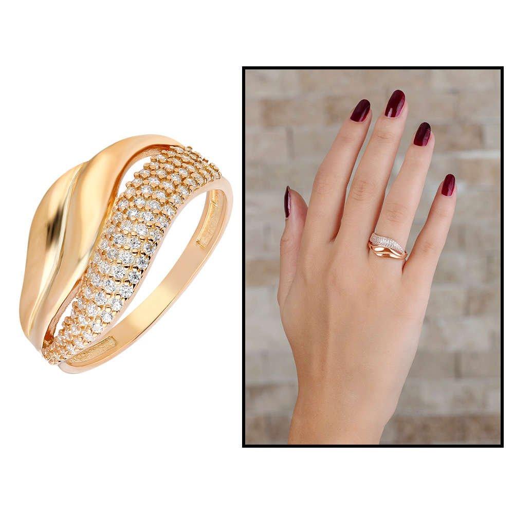 Zirkon Taşlı Wave Tasarım Rose Renk 925 Ayar Gümüş Bayan Yüzük