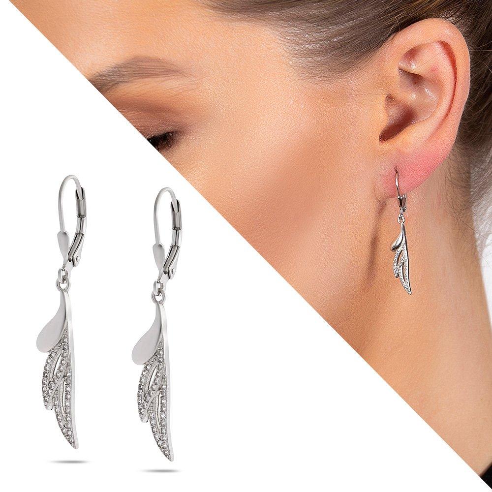 Zirkon Taşlı Yaprak Tasarım 925 Ayar Gümüş Kadın Küpe
