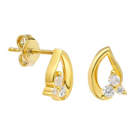 Zirkon Taşlı Yaprak Tasarım Gold Renk 925 Ayar Gümüş Küpe - Thumbnail