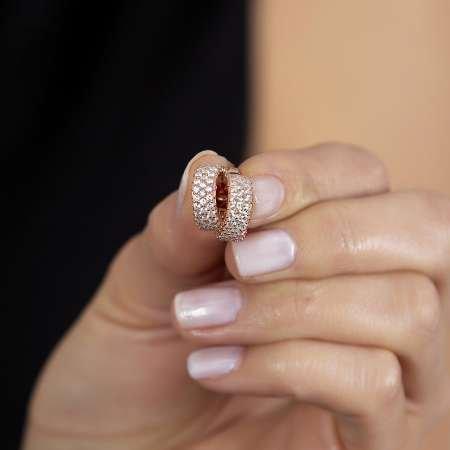 Zirkon Taşlı Yarım Tur Rose Renk 925 Ayar Gümüş Kadın Küpe - Thumbnail