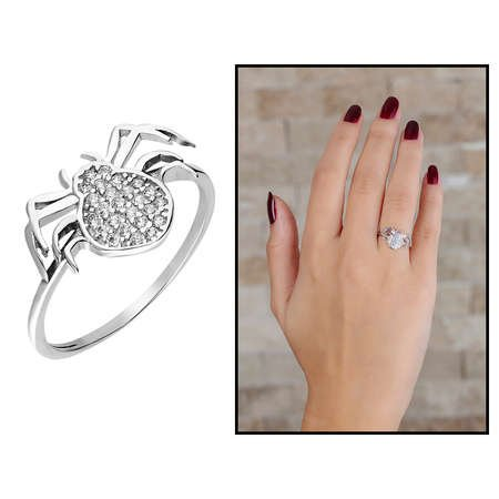 Zirkon Taşlı Spider Tasarım 925 Ayar Gümüş Bayan Yüzük - Thumbnail