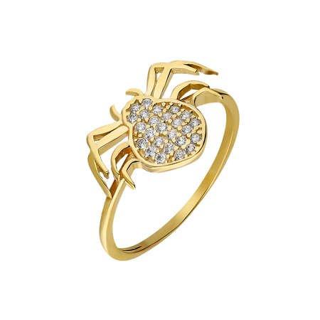 Zirkon Taşlı Spider Tasarım Gold Renk 925 Ayar Gümüş Bayan Yüzük - Thumbnail