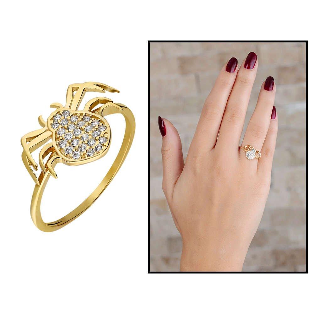 Zirkon Taşlı Spider Tasarım Gold Renk 925 Ayar Gümüş Bayan Yüzük