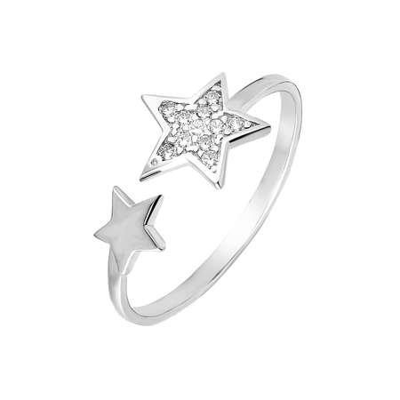 Zirkon Taşlı Yıldız Tasarım 925 Ayar Gümüş Bayan Yüzük - Thumbnail