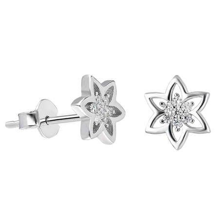 Zirkon Taşlı Yıldız Tasarım 925 Ayar Gümüş Küpe - Thumbnail