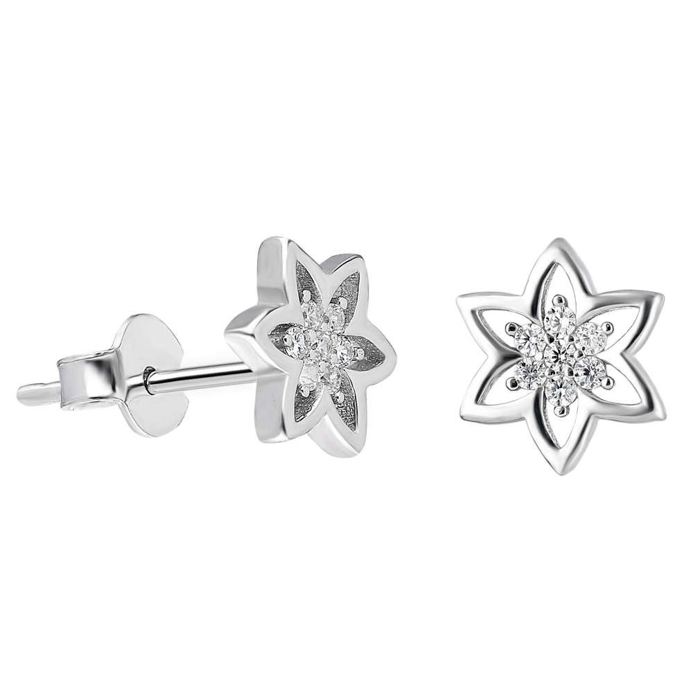 Zirkon Taşlı Yıldız Tasarım 925 Ayar Gümüş Küpe