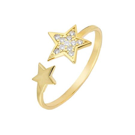 Zirkon Taşlı Yıldız Tasarım Gold Renk 925 Ayar Gümüş Bayan Yüzük - Thumbnail