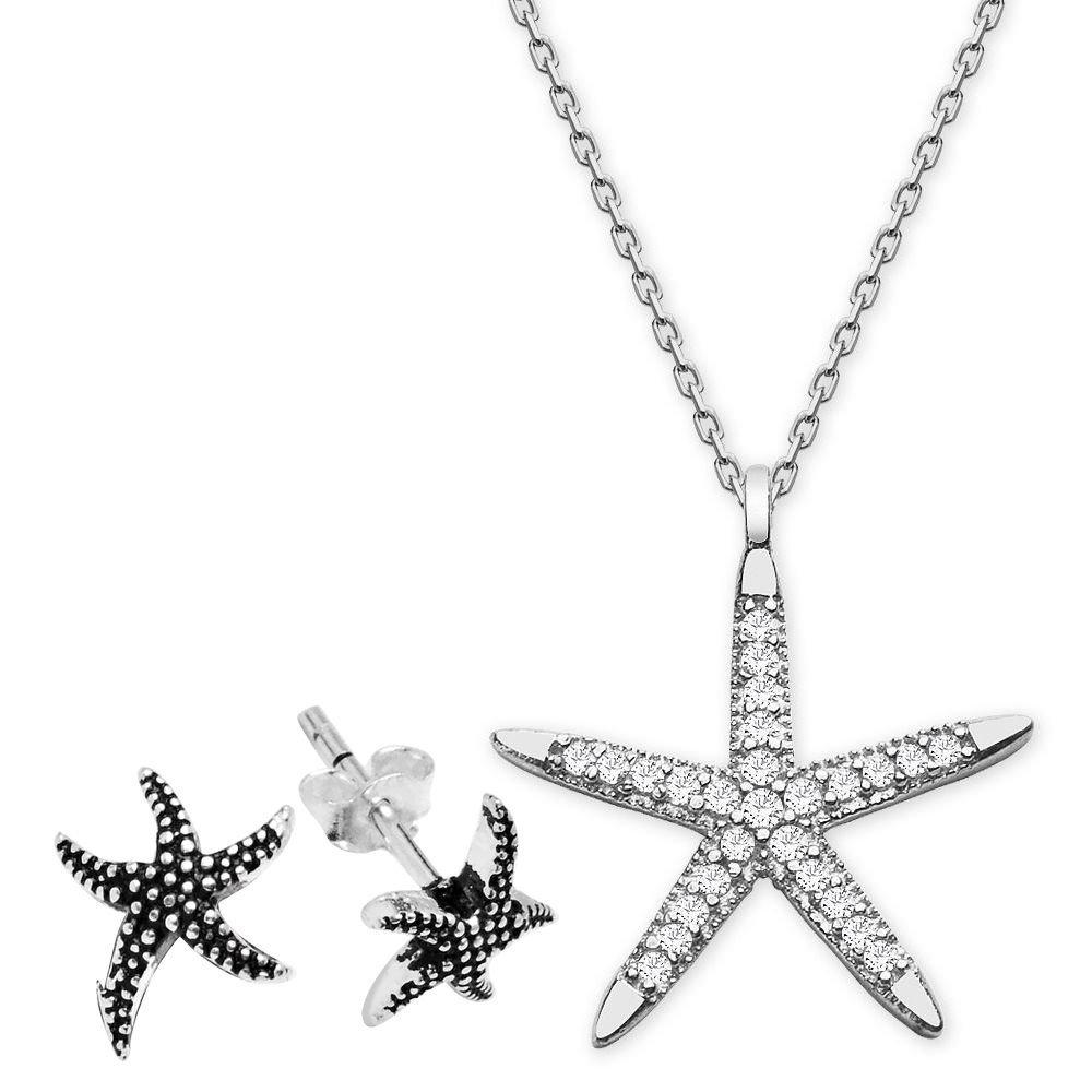 Zirkon Taşlı Yıldız Tasarım Gümüş Kolye ve Küpe Kombini