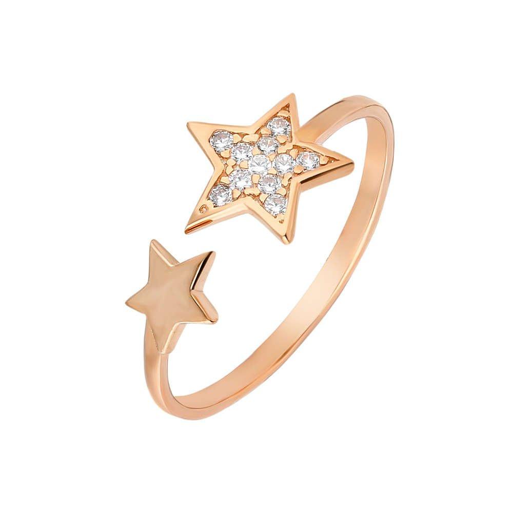 Zirkon Taşlı Yıldız Tasarım Rose Renk 925 Ayar Gümüş Bayan Yüzük