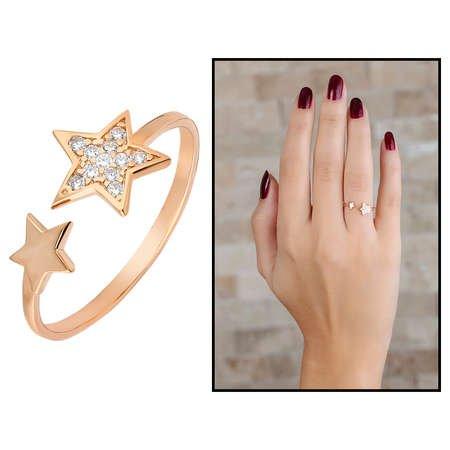 Zirkon Taşlı Yıldız Tasarım Rose Renk 925 Ayar Gümüş Bayan Yüzük - Thumbnail