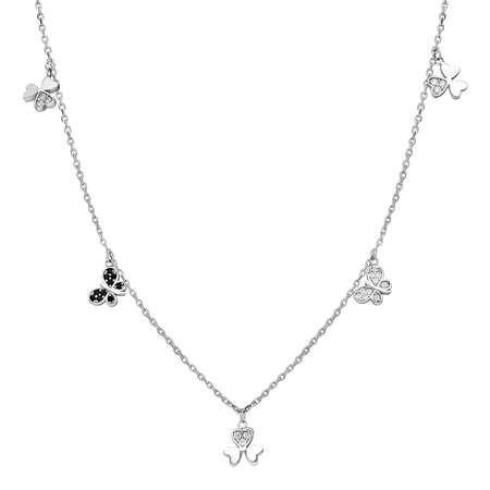 Zirkon Taşlı Yonca Yaprağı-Kelebek Kombinli 925 Ayar Gümüş Şans Kolyesi - Thumbnail