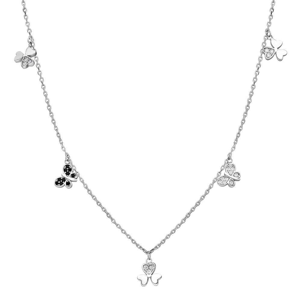 Zirkon Taşlı Yonca Yaprağı-Kelebek Kombinli 925 Ayar Gümüş Şans Kolyesi