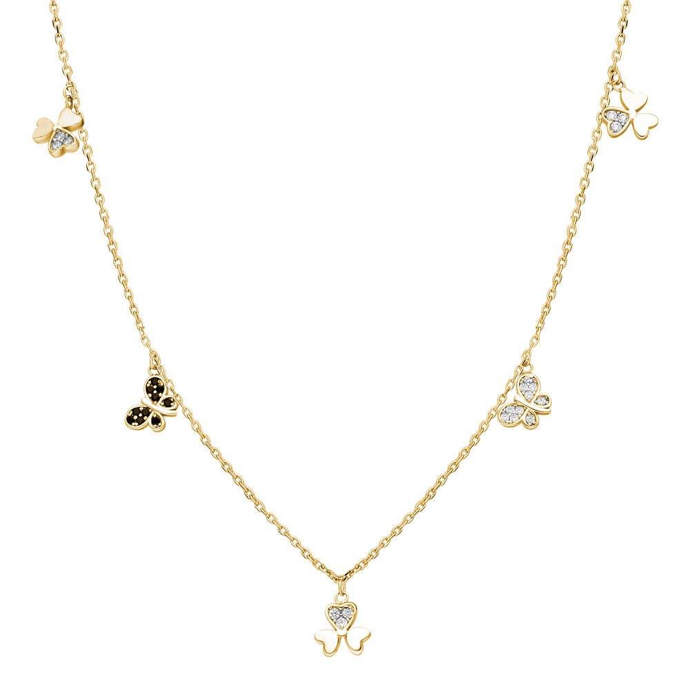 Zirkon Taşlı Yonca Yaprağı-Kelebek Kombinli Gold Renk 925 Ayar Gümüş Şans Kolyesi
