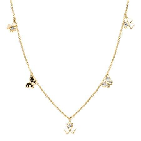 Zirkon Taşlı Yonca Yaprağı-Kelebek Kombinli Gold Renk 925 Ayar Gümüş Şans Kolyesi - Thumbnail