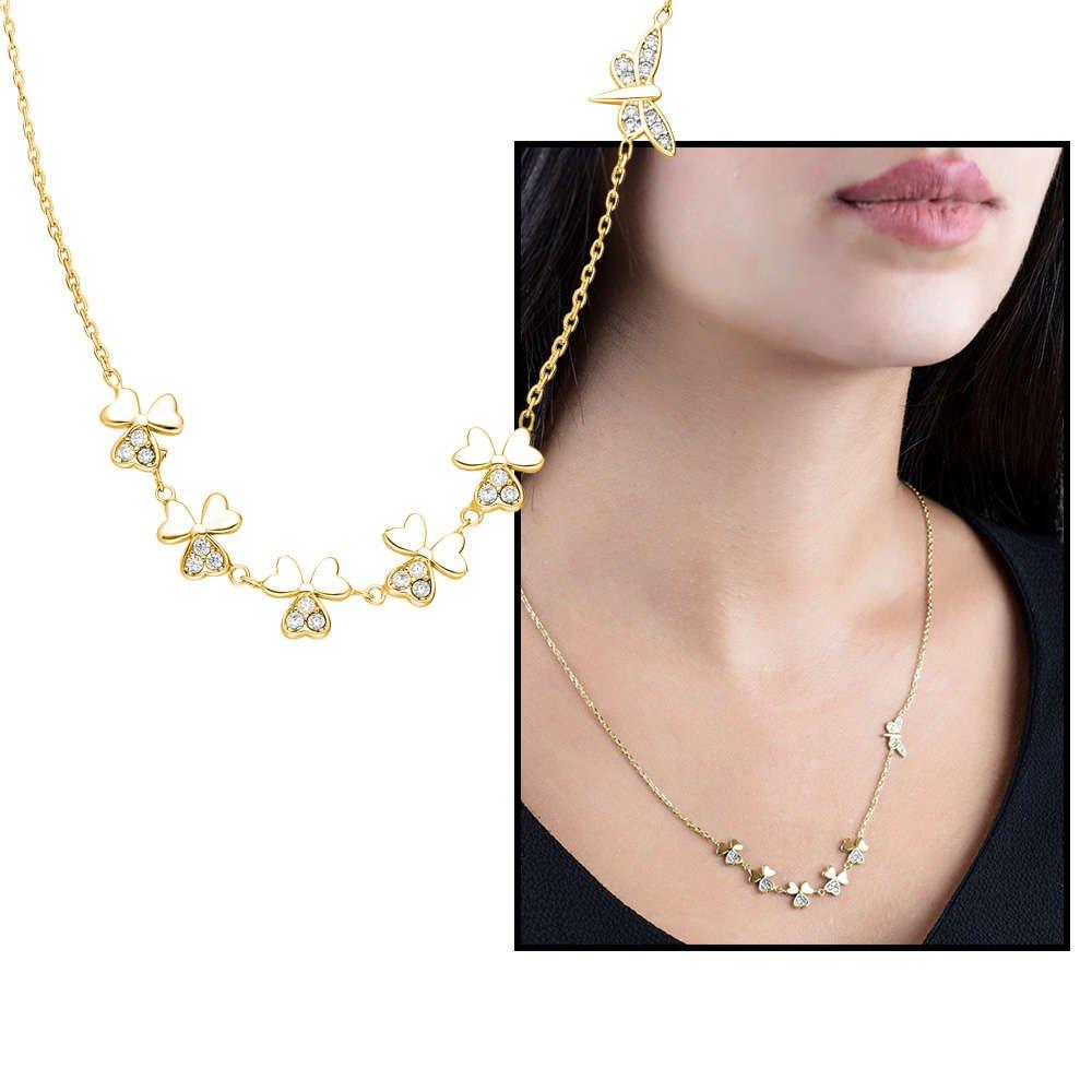 Zirkon Taşlı Yonca Yaprağı-Yusufcuk Kombinli Gold Renk 925 Ayar Gümüş Şans Kolyesi
