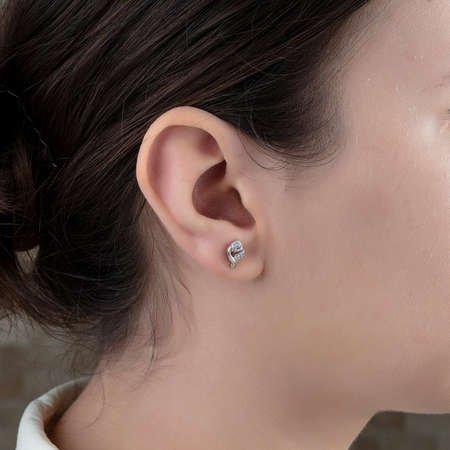 Zirkon Taşlı Zarif Gül Tasarım Roz Renk 925 Ayar Gümüş Küpe - Thumbnail