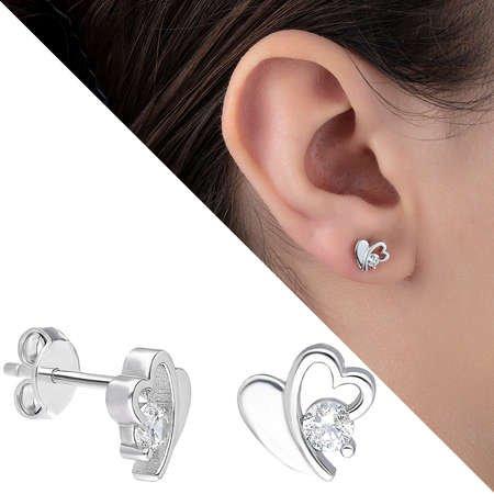 Zirkon Taşlı Zarif Kalp Tasarım 925 Ayar Gümüş Küpe - Thumbnail