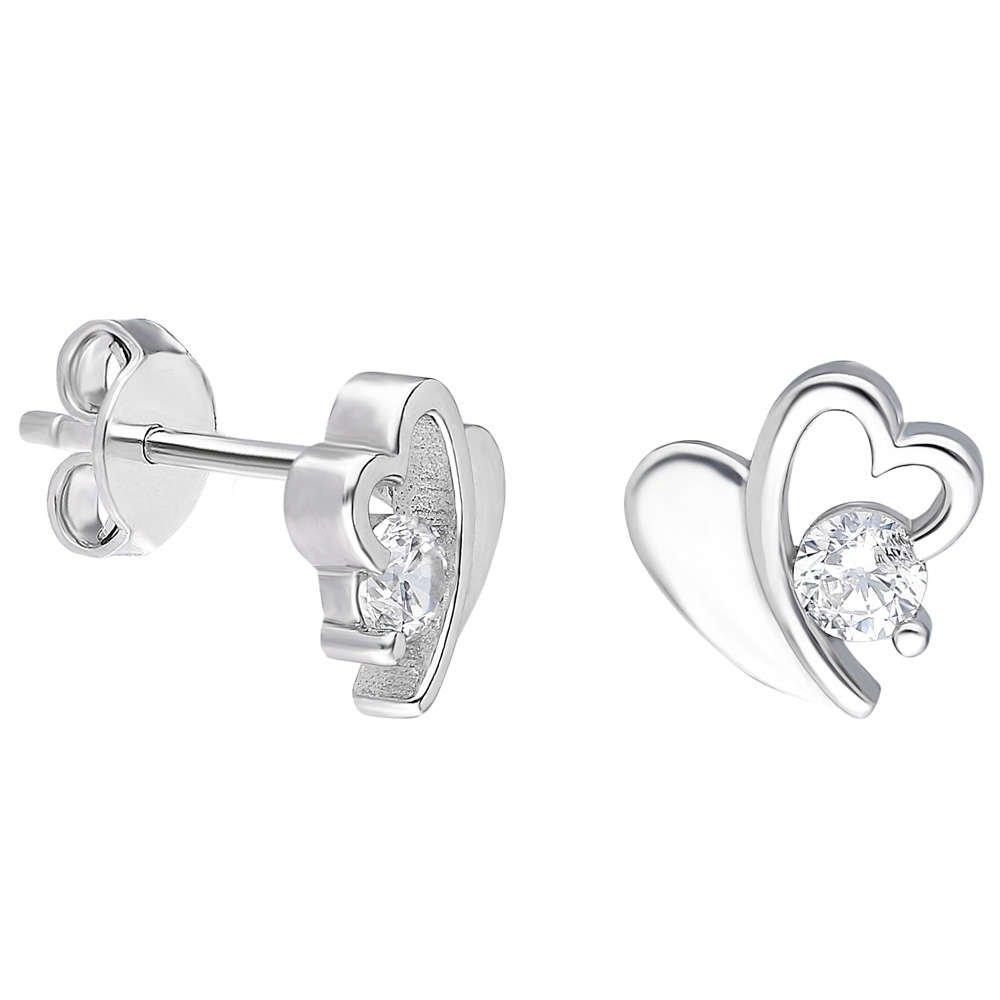 Zirkon Taşlı Zarif Kalp Tasarım 925 Ayar Gümüş Küpe