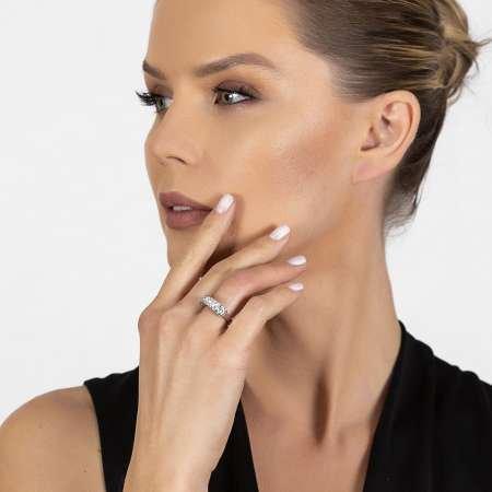 Zirkon Taşlı Zincir Tasarım 925 Ayar Gümüş Kadın Multi Taşlı Yüzük - Thumbnail
