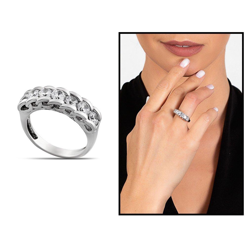 Zirkon Taşlı Zincir Tasarım 925 Ayar Gümüş Kadın Multi Taşlı Yüzük
