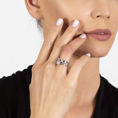 Zirkon Taşlı Zincir Tasarım 925 Ayar Gümüş Kadın Tektaş Yüzük - Thumbnail