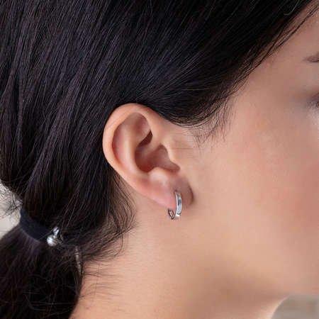 Zirkon Tek Taşlı Zarif Tasarım 925 Ayar Gümüş Bayan Küpe - Thumbnail